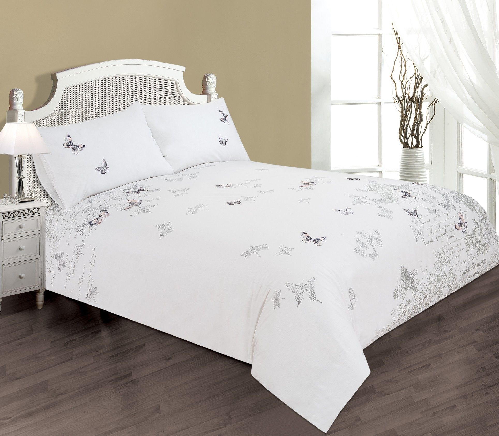 Life From Coloroll Postcard Embroidered Erfly Duvet Set White Ponden Homes