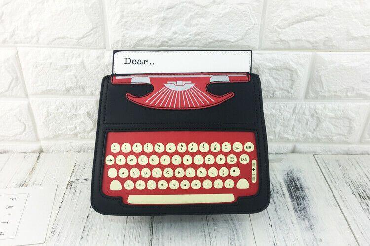 Vintage Typewriter Retro Printer Handbag Book Writer Shoulder Bag Letter Purse