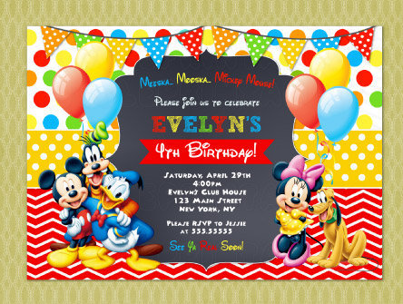 Mickey Mouse Clubhouse Invitation Birthday   Mickey Mouse Birthday  Invitations   Mickey Mouse Invitations