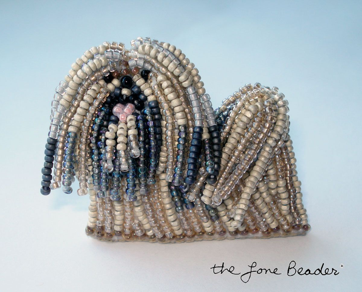 Commission a Beaded LHASA APSO dog pin/ pendant wearable art (Made-to-Order). $95.00, via Etsy.