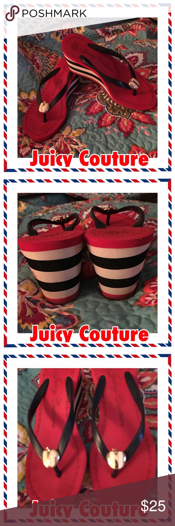 Juicy Couture Red, Wht & Navy Wedges w/ Apple  July 4th with soon be here.  You would be stylin' in these adorable Juicy Couture Wedge flip-flops.  Perfect for that night out or just having fun at home with friends and having a bbq.  Look New!!!!!! Juicy Couture Shoes Wedges