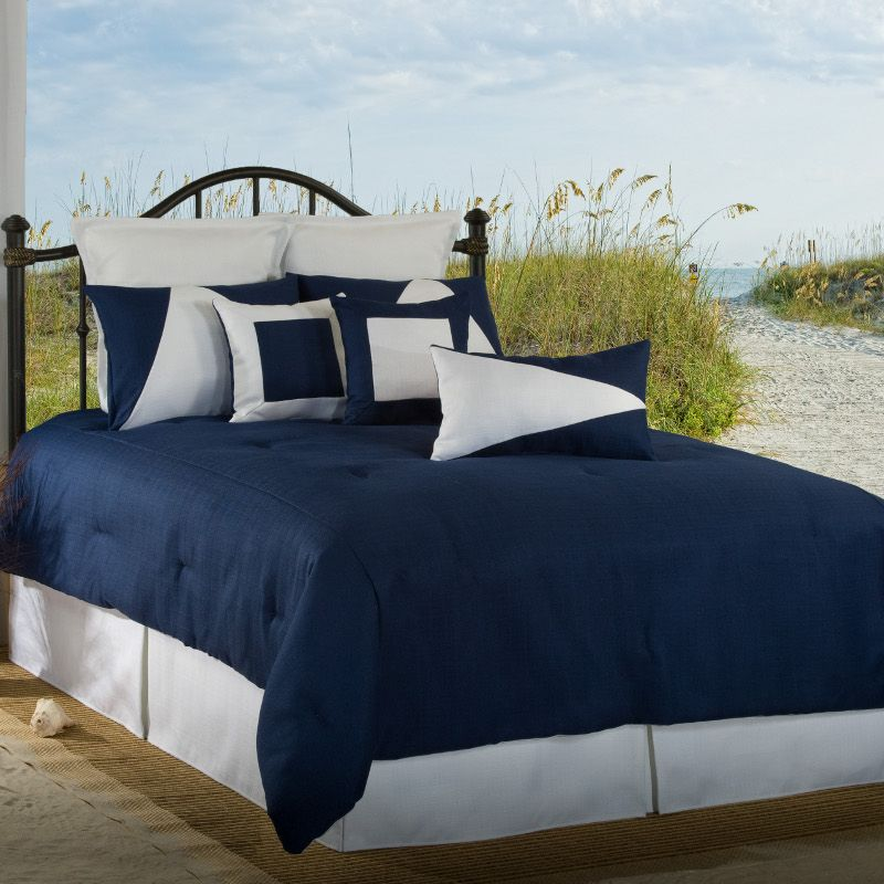 Latitude 11 Navy Blue White Twin Comforter Set Blue Comforter