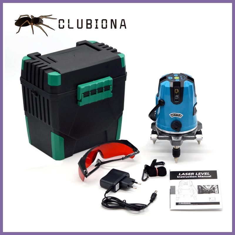 Clubiona 5 Laser Lines 6 Points 360 Degrees Rotary 635nm Auto Level Laser Level With Outdoor Mode Receiver And Tilt Slash Ok Laser Levels Red Beam Laser