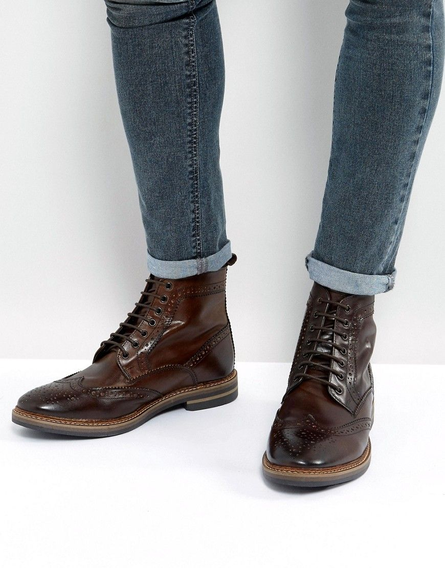 c4f1927c12c Base London Hurst Leather Brogue Boots In Brown | Products | Leather ...