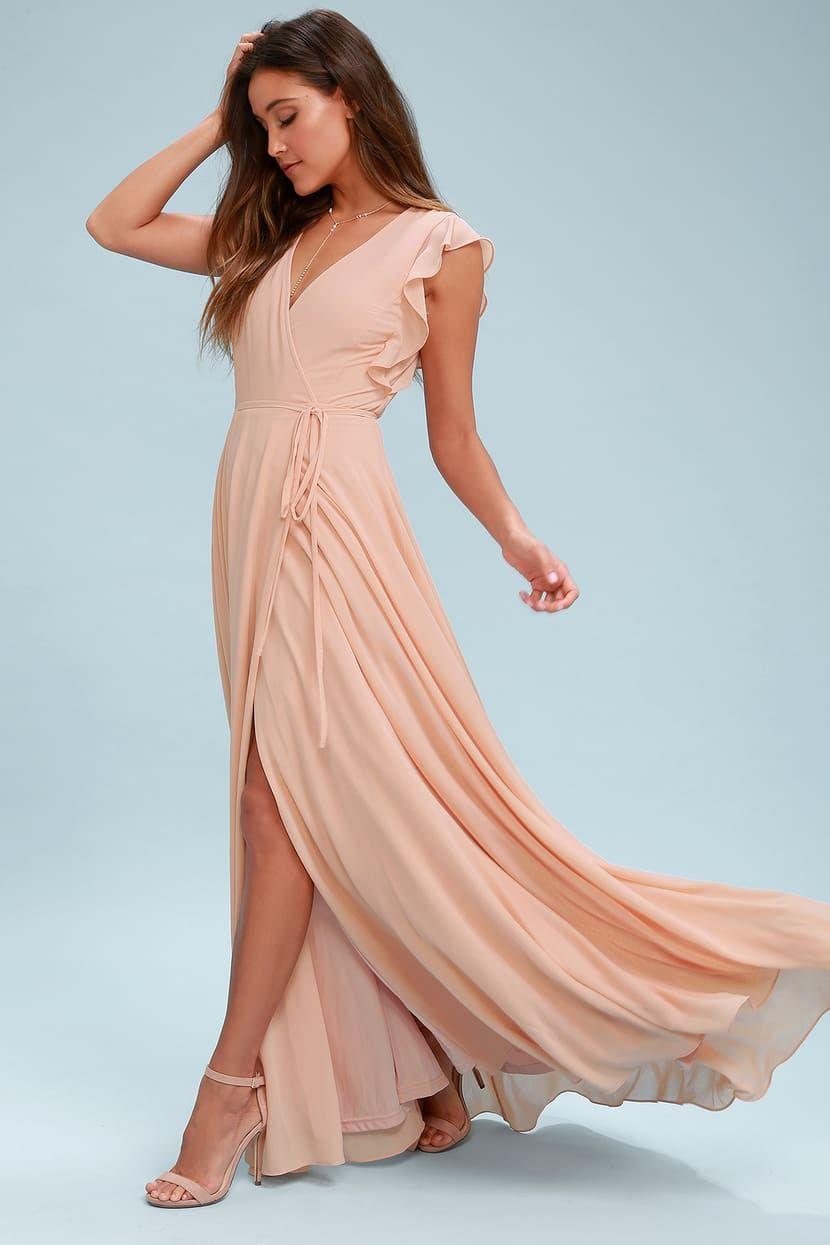 Crescendo blush wrap maxi dress blush maxi dress maxi