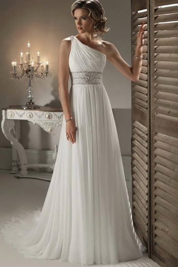Love this empire waist grecian style gown perfect if youre elegant exquisite chiffon sheath one shoulder neckline wedding dress greek goddess bride junglespirit Image collections