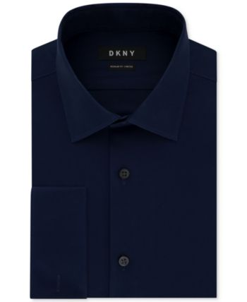 cfb864137 Dkny Men's Classic/Regular-Fit Performance Stretch Wrinkle-Resistant Black  French Cuff Dress Shirt - Blue 15 34/35