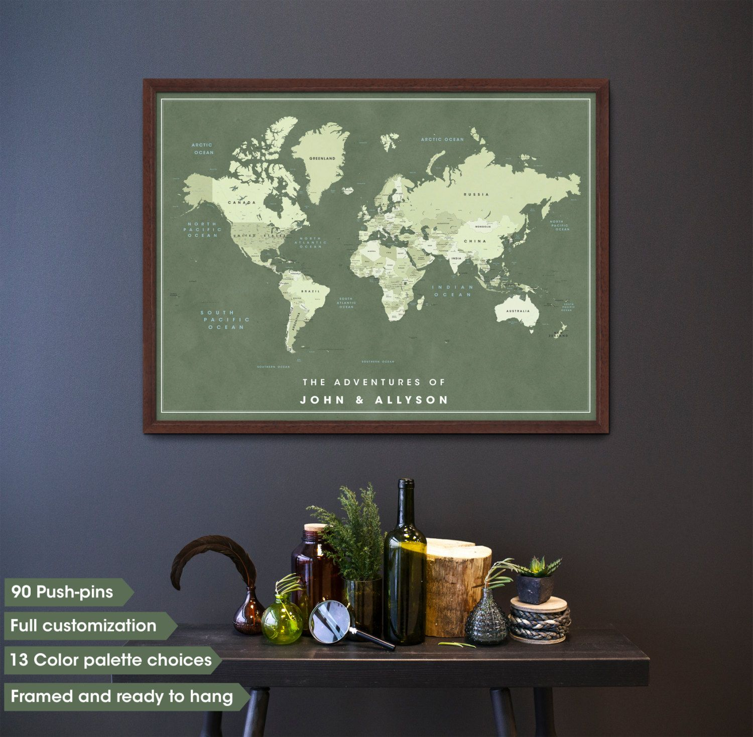 Framed Push Pin Travel Map For Couples, Push Pin Travel