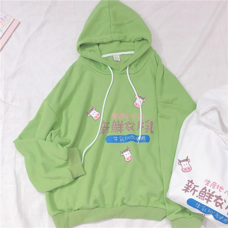 Japanese harajuku cute milk print hoodie by23121 really