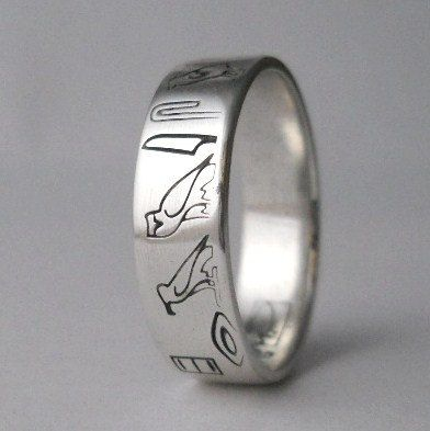 Amazing personalized Egyptian Hieroglyphic ring sterling silver ring mens ring womens ring made to your size