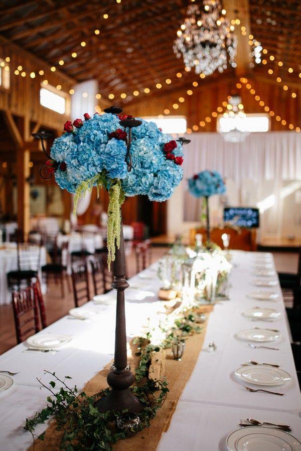 Red Teal Rustic Country Wedding At Twin Oaks Farm Wedding Centerpieces Diy Rustic Blue Themed Wedding Rustic Wedding Decor