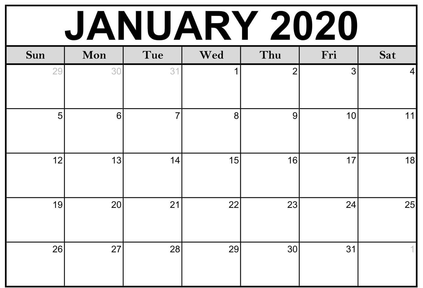 Blank Calendar January 2020 Printable Excel Landscape Template In