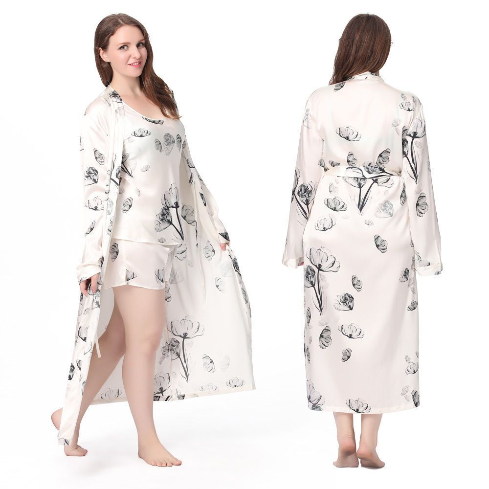 Lilysilk Womens Silk Pajamas Camisole   Robe Set Sleepwear Painted Plus Size 55c248f90