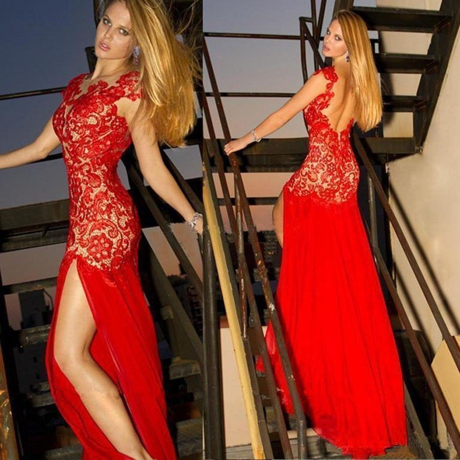 red lace long prom dresssexy see through prom dresses