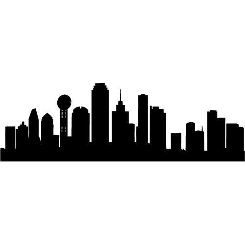 dallas skyline silhouette x large vinyl wall decal sticker