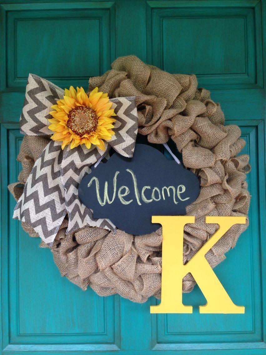 "Photo of Monogram Initial ""K"" Chalk Board Burlap Wreath Yellow Chevron Sunflower – Fall…,  #Board #B…"