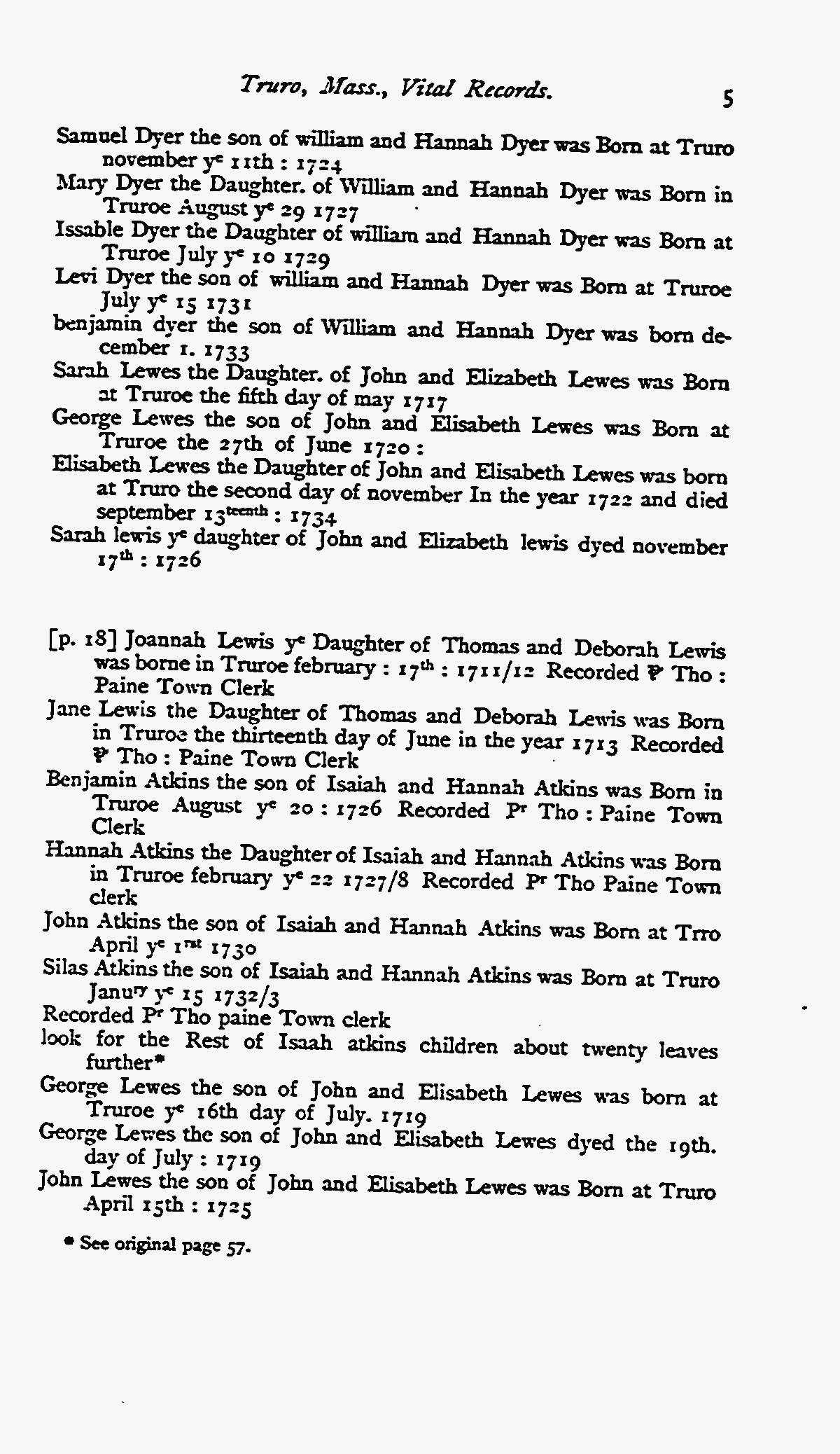 1850 (Pre) - MA Vital Records Truro - Dyer - pg 5 | Dyer, Taylor