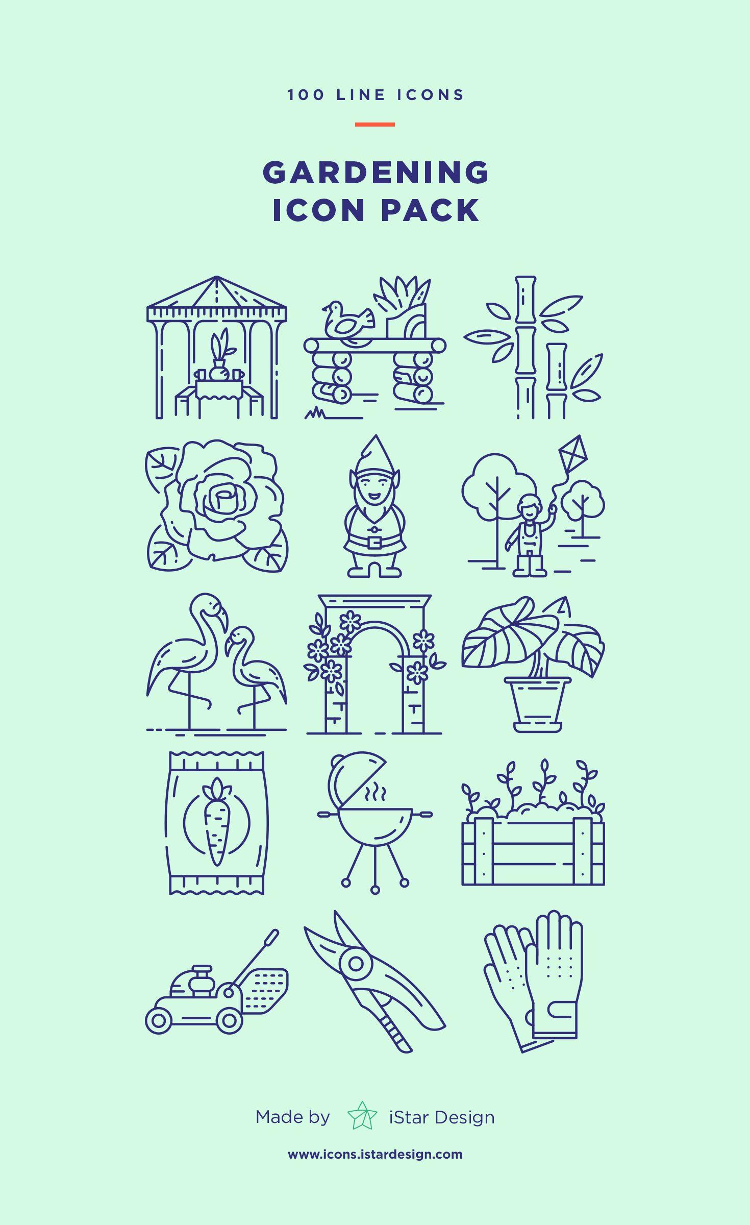 Gardening Icons Set Icon set, Icon, Outline designs