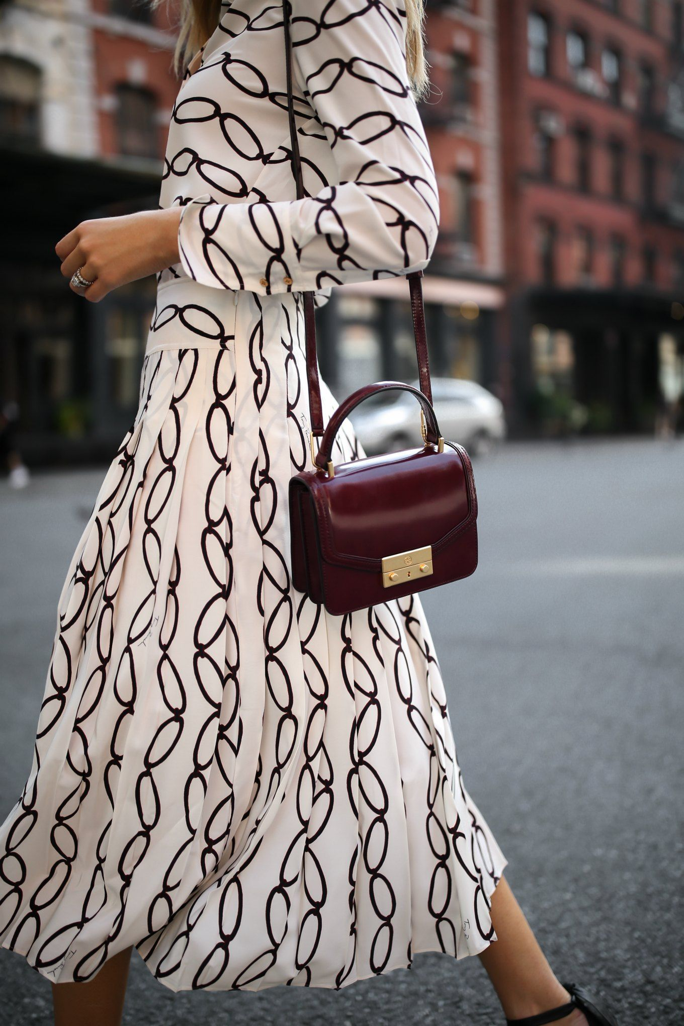 9a417af22c17 burgundy tory burch juliette bag black and white pleated midi skirt chain  print shirt black alexandre birman ankle strap bow sandals nyc style  fashion ...