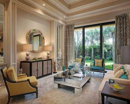 Idée de décoration pour un grand salon design avec un mur ...