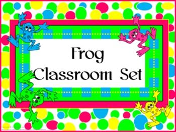 Classroom Set- FROGS THEME #3- Bright Colors- -This set includes the following: -Desk name tags (both regular and primary) -Charts (1 to 100, addition, and multiplication- 2 sizes) -Number lines (0 to 20, 0 to 40 skip counting by 2 and -10 to 10) -Calendar numbers (differences for odd numbers, even numbers, multiple of 3 and multiple of 5) -2 ABC sets -Assortment of tags, labels, pencil toppers, charts, posters, hall passes, directions and more. $