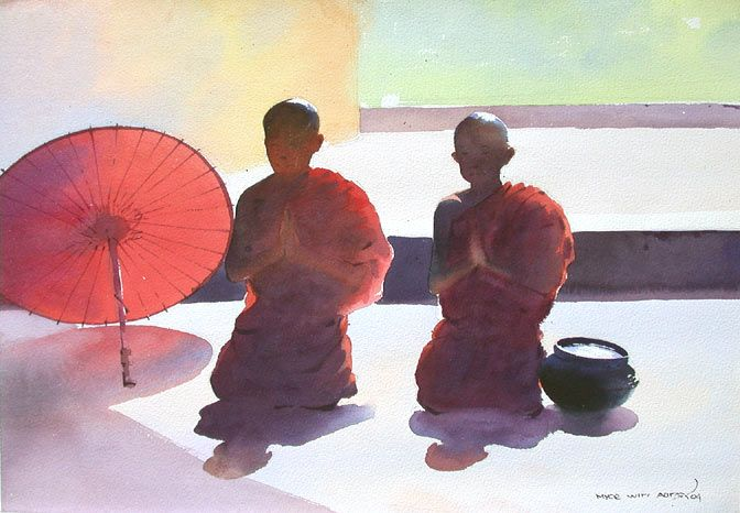Two Praying Monks by Myoe Win Aung - watercolor on paper