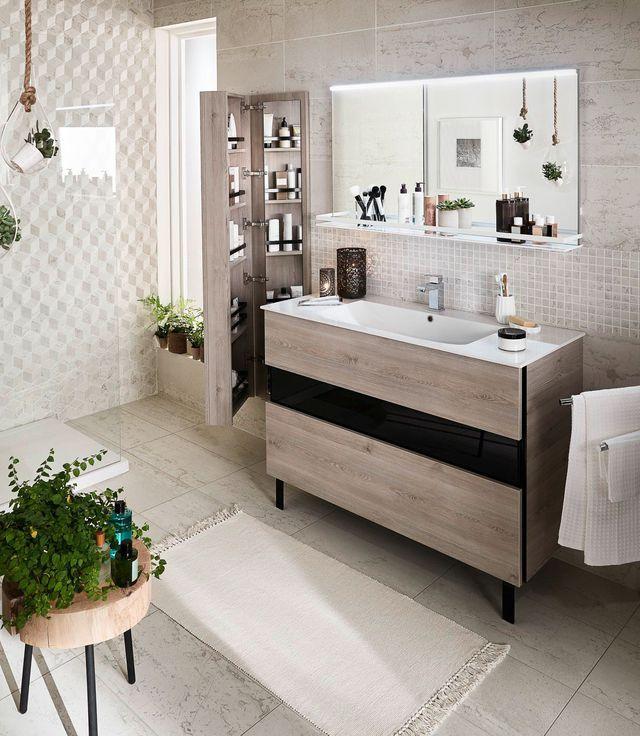 Meuble salle bain bois design ikea lapeyre salle for Agencement cuisine lapeyre