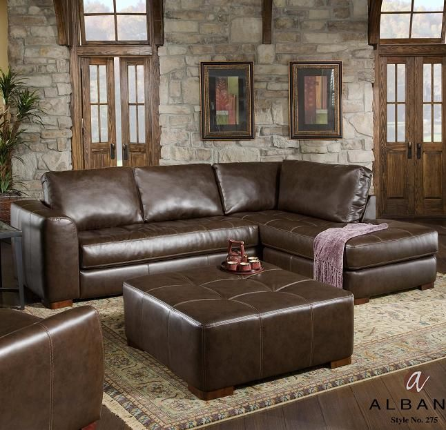 275 Contemporary Sectional Sofa with Chaise and Ottoman by Albany
