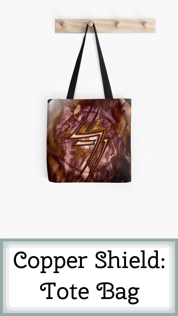 Get yourself (or a friend) a tote bag with this whimsical art printed on it. -- A mighty copper shield, with the sign of lightning on the front. What brave warrior laid it down? What bold deeds has it witnessed? -- #ToteBag, #Accessories, #Bag, #Aesthetic, #Armor, #AustralianArtist, #Beautiful, #Brave, #DigitalArt, #Fantasy, #FindYourThing, #FluidArt, #FluidVisionsArt, #Lightning, #Mythical, #Shield