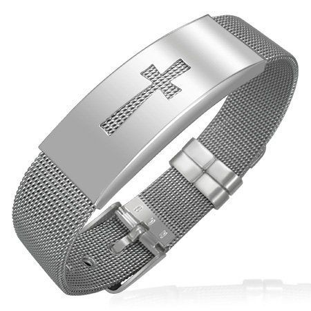 Stainless Steel Cross Chastity Mesh Silver-Tone Womens Bracelet *** Want additional info? Click on the image.