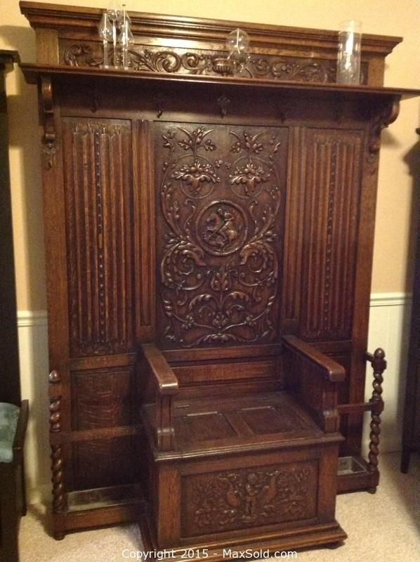 Exceptionnel MaxSold   Auction: Kensington Antique Hall Tree With Storage Bench
