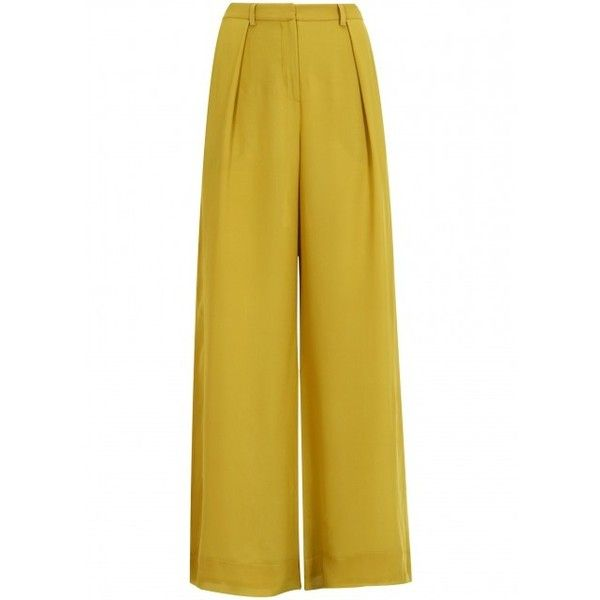 Topshop Mustard high waisted wide leg trousers £90 found on Polyvore