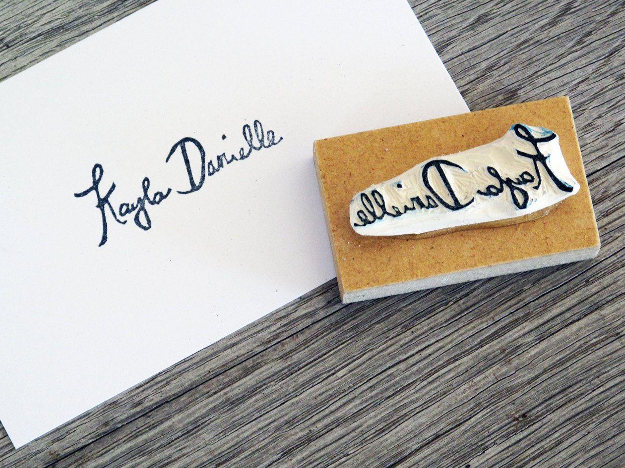 Custom Signature Rubber Stamp, Name Stamp, Hand carved stamp ...