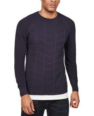 (eBay Sponsored) G-Star Raw Mens Sweater Blue Size XL Slim-Fit Textured Moto Crewneck $140 #058