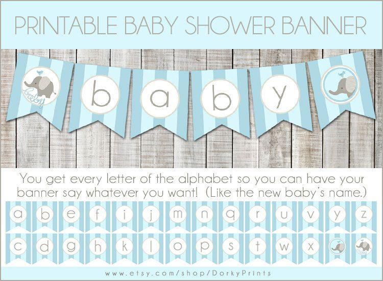 Blue Elephant Baby Shower Printable Banner PDF Printable