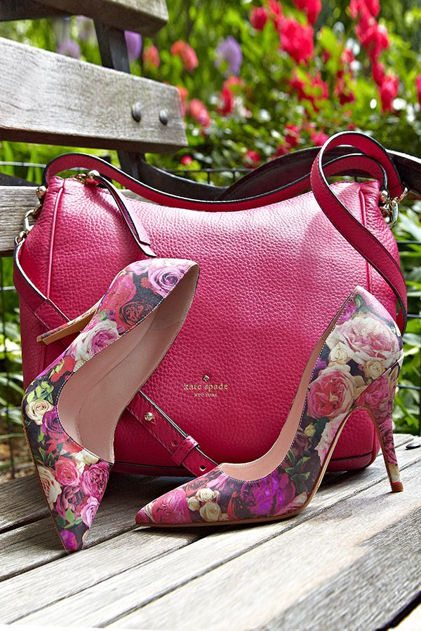 02f628f75772 Garden Party Ready  Kate Spade s  Licorice Rose  Print Leather Pumps and   Charles Street  Small Haven Hobo are the perfect companions for an  afternoon tea ...