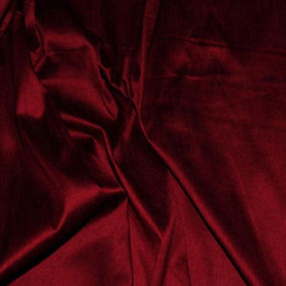 Dark Red Silk Fabric By The Yard Dupioni Upholstery Fashion