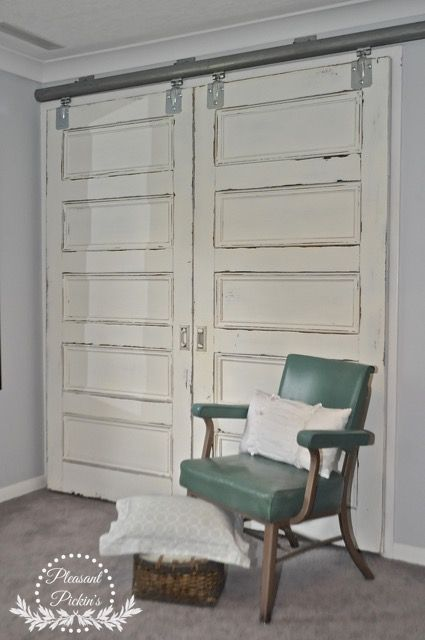Antique Oak Pocket Doors Put On Barn Door Tracks Painted