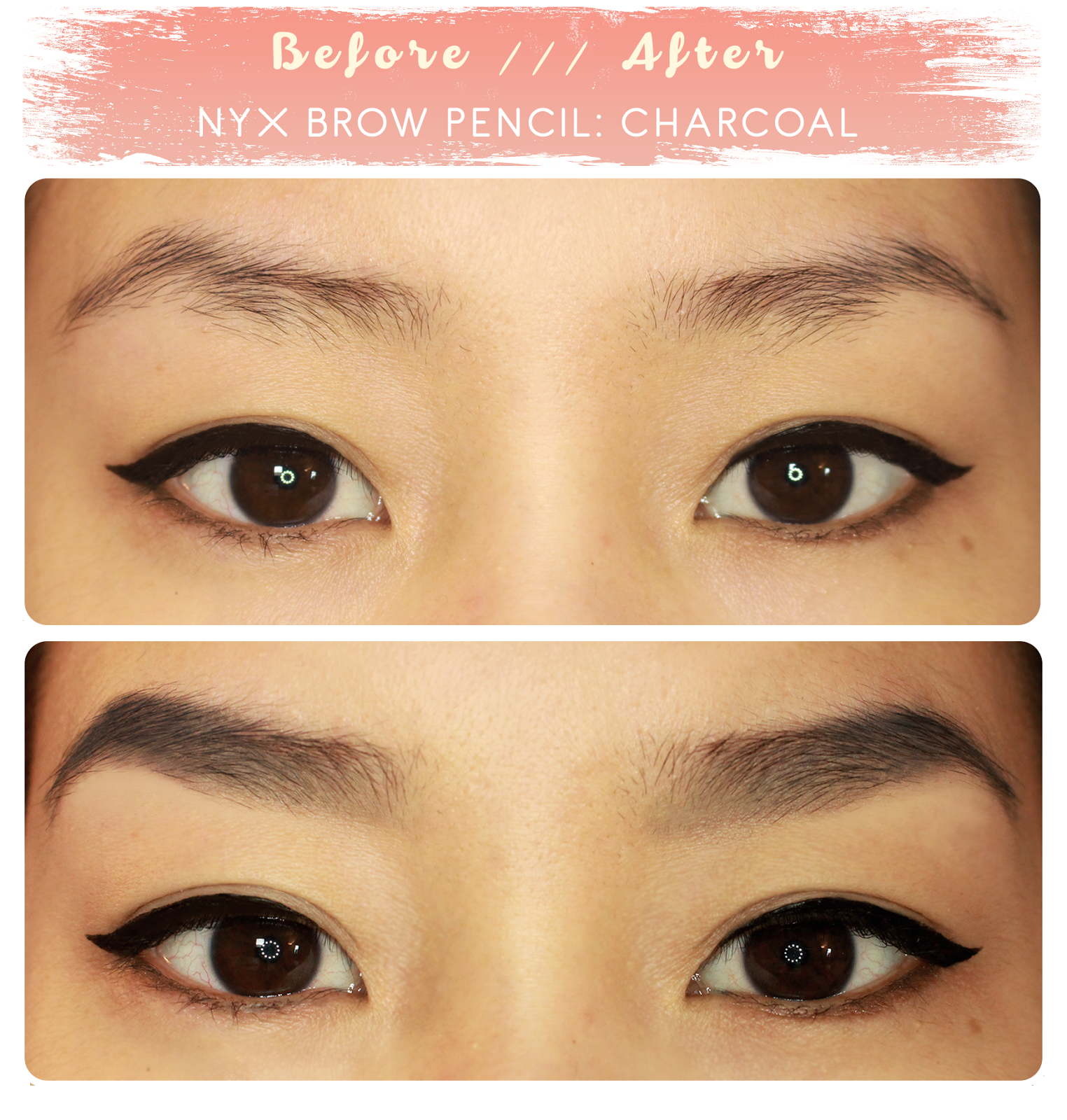 """Brow before & after NYX eyebrow pencil in """"charcoal"""" 