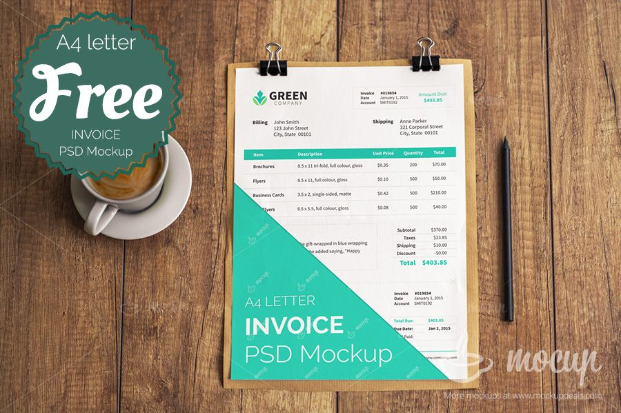Free Invoice PSD Mockup template (15 MB) | mockupdeals.com