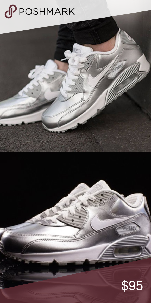 96ef505a1 Women's/Girls Nike Air Max 90 Sz 7y/8.5w Nike Air Max 90 SE Metallic Silver  Brand new in box 100% authentic Excellent condition Ships doubled boxed Dip  ...