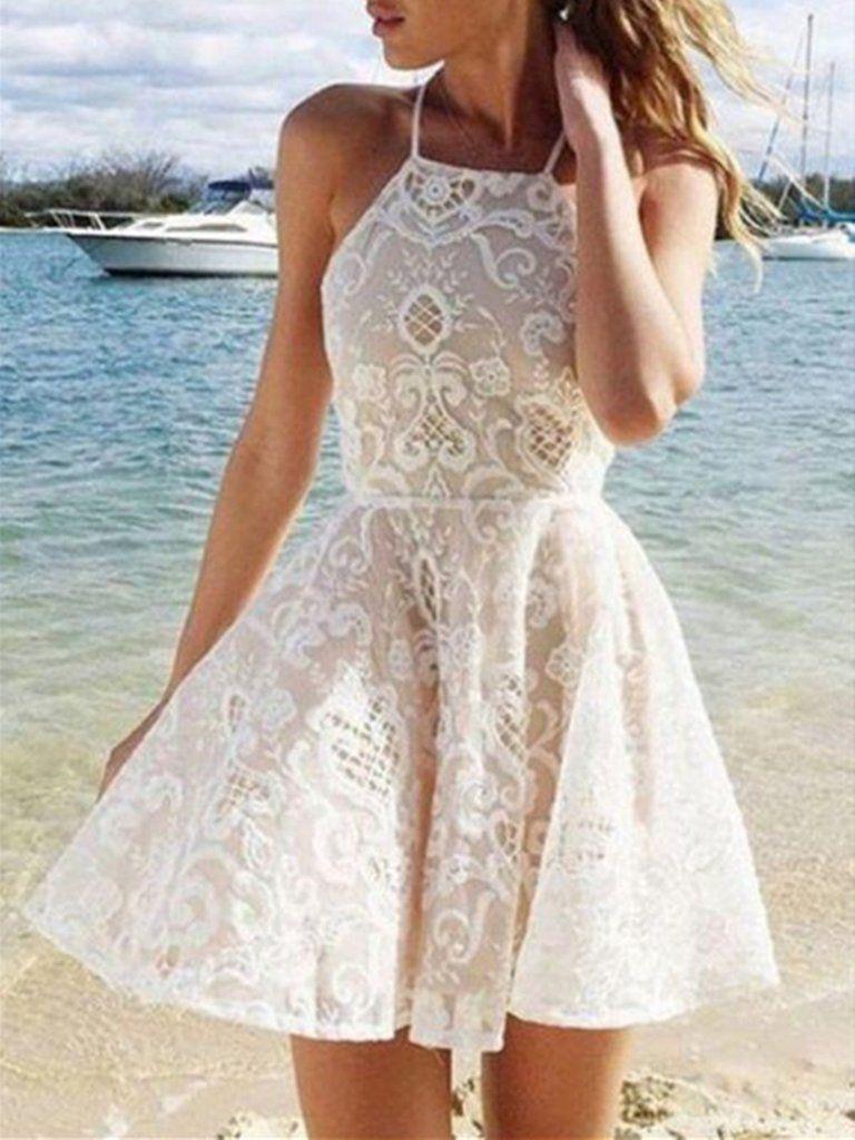 A Line White Lace Halter Sleeveless Short Mini Prom Dresses White Lace Short Graduati Lace Homecoming Dresses White Homecoming Dresses Cute Homecoming Dresses [ 1024 x 768 Pixel ]
