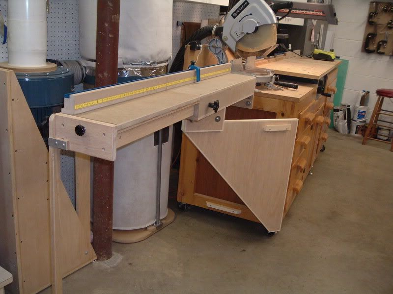 Miter Saw/Radial Arm Saw Cabinet | Shop Ideas | Pinterest