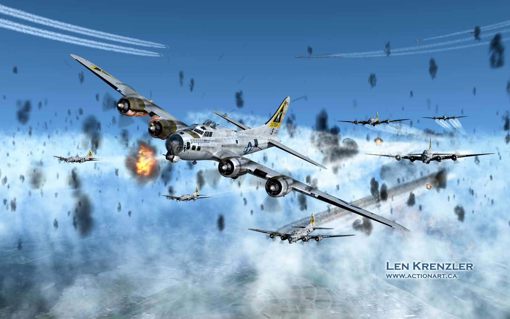 """Wing and a Prayer"" Artwork by Len Krenzler. Ever wonder what it was like to fly into a flak barrage? This artist's rendition of an air raid over Frankfurt, Germany shows just how heavy the flak barrage could be."