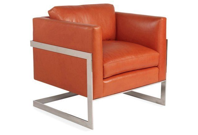 Groovy Nathan Leather Accent Chair Orange Thing Things Things Pdpeps Interior Chair Design Pdpepsorg