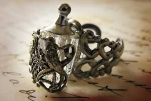 small glass potion bottle ring