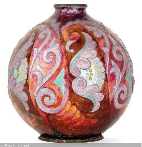 Paris Porcelain Art Nouveau Period Lamp Chinese Taste: Camille Faure~enamel Over Copper Vase Sphérique, Tajan