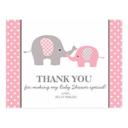 Elephant Baby Shower Thank You Note Polka Dots Postcard Elephant - baby shower thank you notes