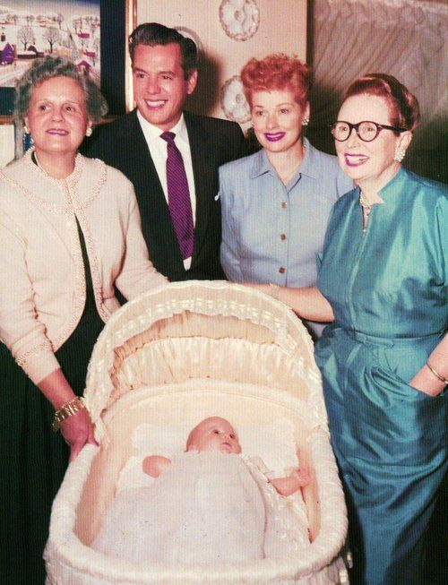 Lucille Ball and Desi Arnaz with their mothers DeDe and Dolores and newborn Baby Desi