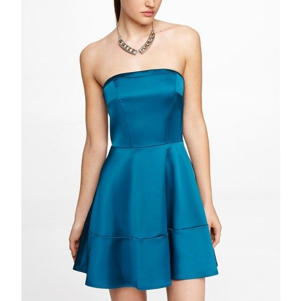 Express Strapless Satin Fit And Flare Dress for only $60 You save: $68.00 (53%)